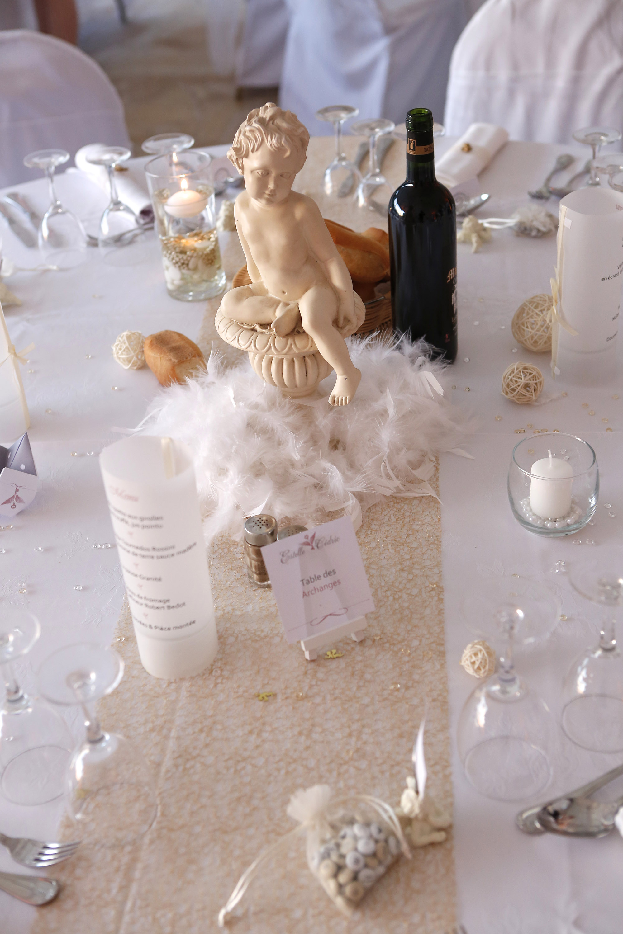 Une d coration de table sur le th me des anges du bonheur en cr ation - Decoration bapteme theme ange ...