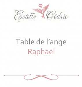 Support de nom de table thème des anges - Table  Raphaël